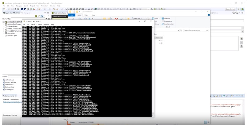 Diagnostic output from the embedded GUI