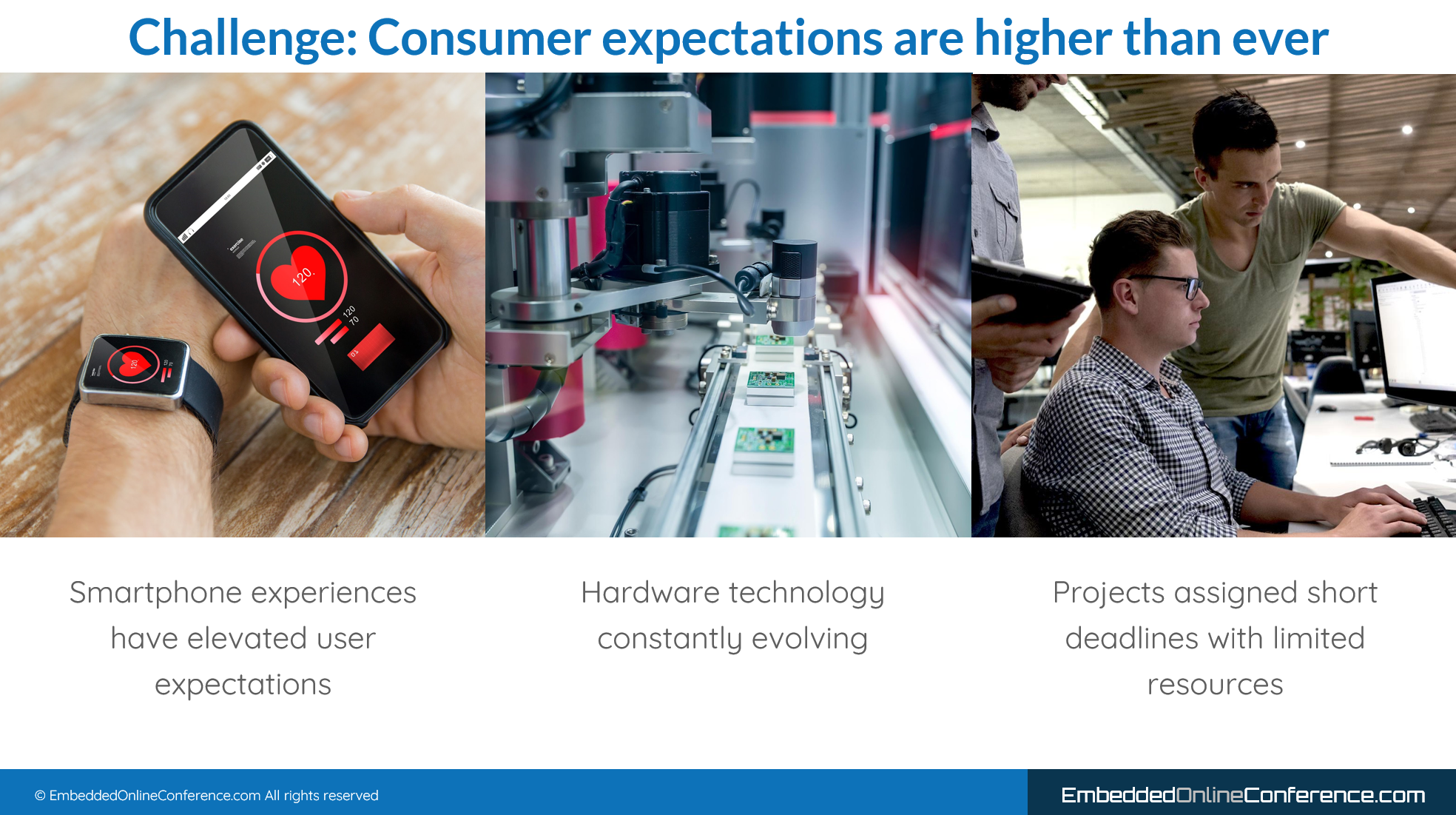 3 challenges for embedded GUI developers: Smartphone experience, chip assembly line, people working to meet deadlines