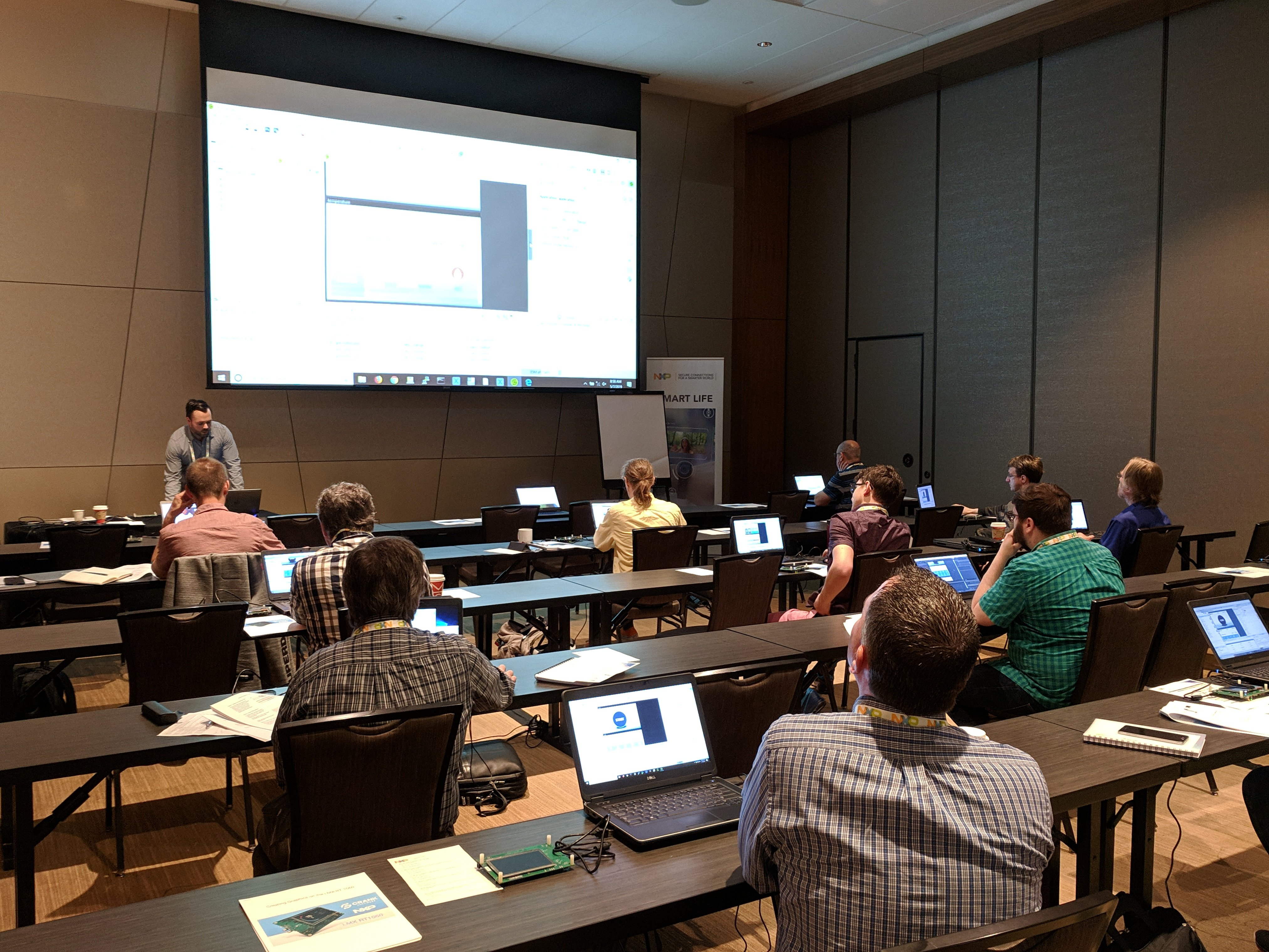 Above: Nik Schultz hosting a workshop for NXP customers on using Storyboard Lite for the RT 1060