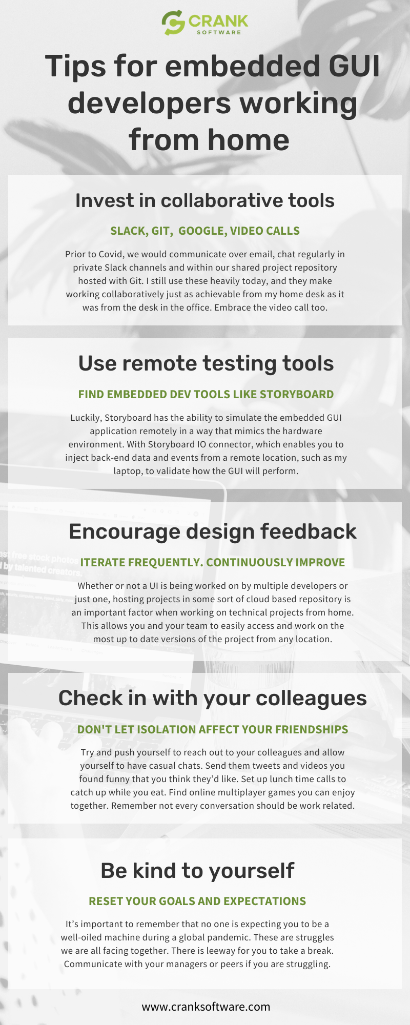 Infographic - tips for embedded developer working from home with Crank Storyboard (1)